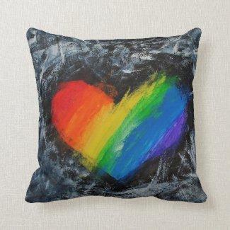 Rainbow love heart grunge abstract striped cushion pillow
