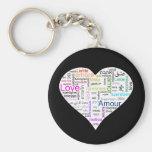 Rainbow Love Heart Typography Basic Round Button Keychain