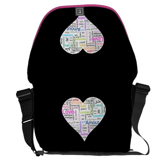 Rainbow Love Heart Typography Courier Bag