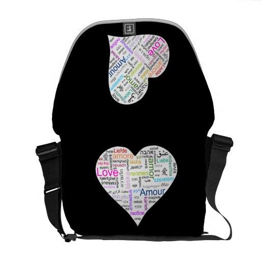 Rainbow Love Heart Typography Messenger Bag