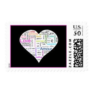 Rainbow Love Heart Typography Postage