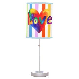 Rainbow Love Hearts Art Lamp