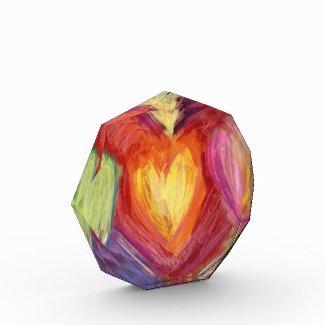 Rainbow Love Hearts Art Paperweight Award