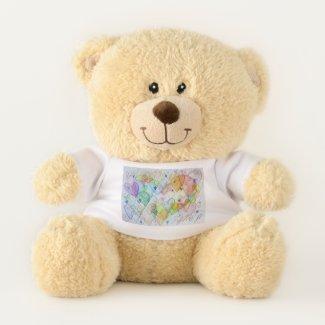 Rainbow Love Hearts Art Teddy Bear