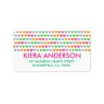Rainbow Love Hearts Colorful Fun Pattern Chic Cute Address Label