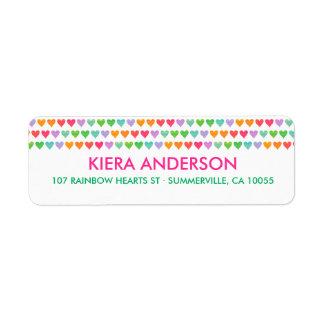 Rainbow Love Hearts Colorful Fun Pattern Chic Cute Label