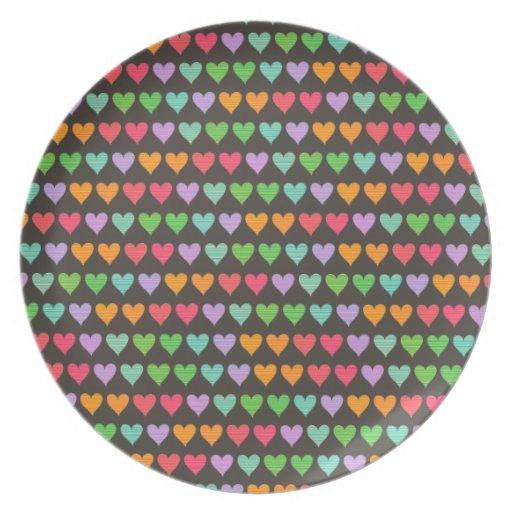 Rainbow Love Hearts Colorful Fun Pattern Chic Cute Plates
