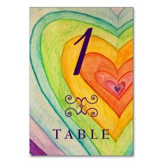 Rainbow Love Hearts Custom Table Number Card