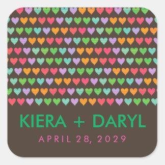 Rainbow Love Hearts Cute Summer Wedding Sticker