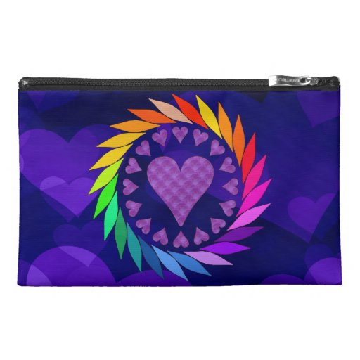 Rainbow Love Hearts Travel Accessory Bags