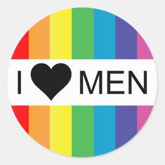 rainbow love. i heart men. round stickers