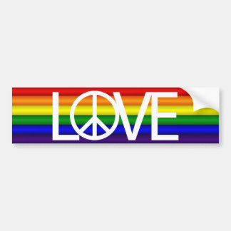 Rainbow Love Peace Sign Bumper Sticker