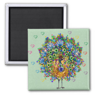 Rainbow Love Peacock 2 Inch Square Magnet