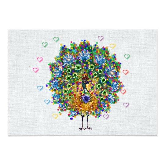 Rainbow Love Peacock Card