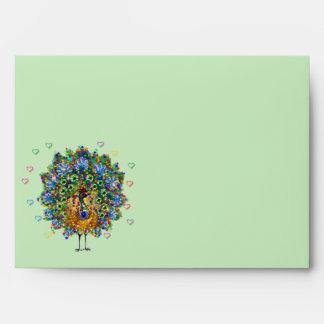 Rainbow Love Peacock Envelopes
