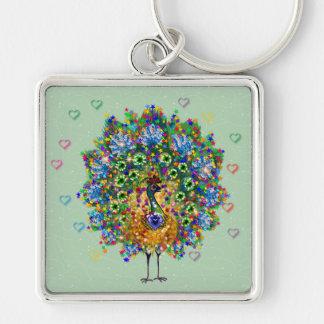 Rainbow Love Peacock Keychain