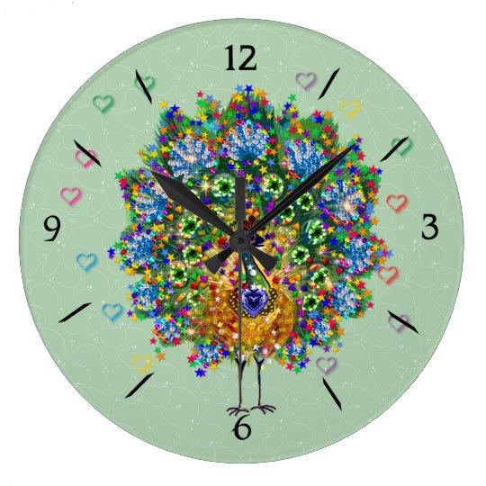 Rainbow Love Peacock Large Clock