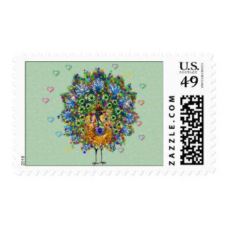Rainbow Love Peacock Stamps