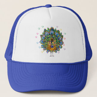 Rainbow Love Peacock Trucker Hat