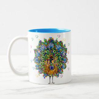 Rainbow Love Peacock Two-Tone Coffee Mug