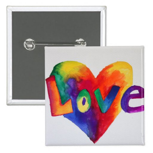 Rainbow Love Word Art Painting Button or Pin