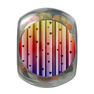 Rainbow Loves Hearts Design Glass Jars
