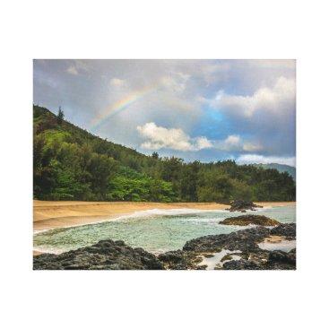 Rainbow, Lumaha'i Beach, Kauai, Hawaii Photograph Canvas Print