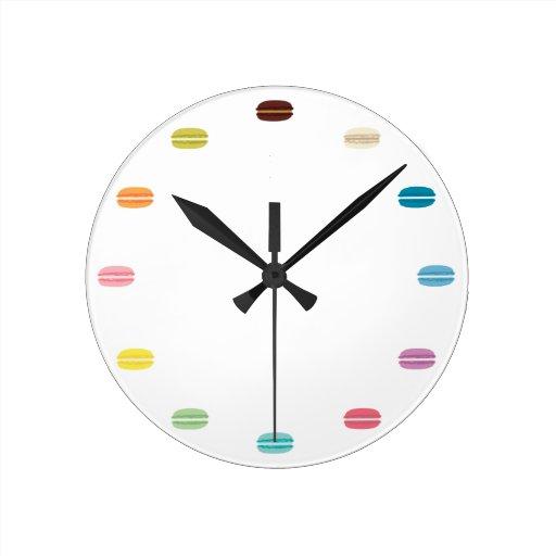 Rainbow Macarons Round Clock