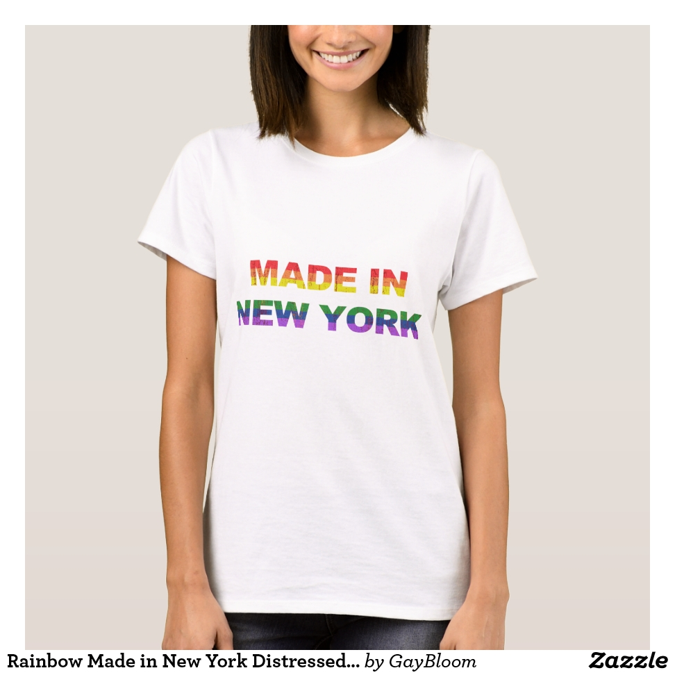 Rainbow Made in New York Distressed T-Shirt - Best Selling Long-Sleeve Street Fashion Shirt Designs