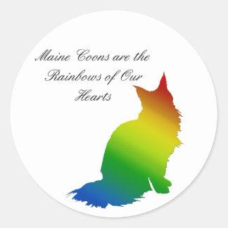 Rainbow Maine Coon Classic Round Sticker