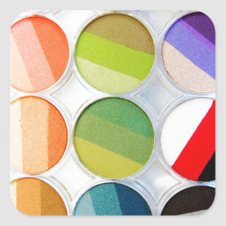 Rainbow Makeup Palette - Beauty Print Square Sticker