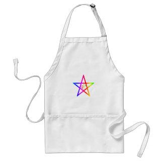 Rainbow Male Homosexual Pentagram #2 Adult Apron
