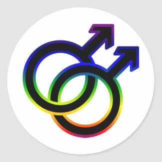 Rainbow Male Homosexual Symbol Classic Round Sticker