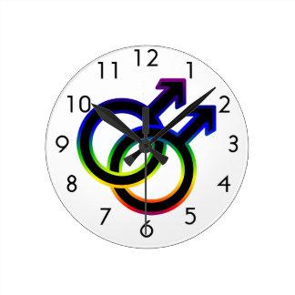 Rainbow Male Homosexual Symbol Round Wallclocks