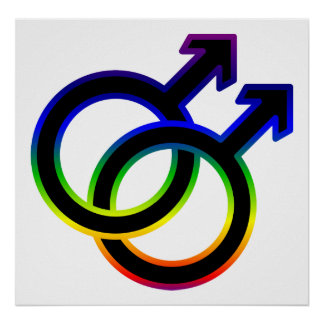 Rainbow Male Homosexual Symbol Posters
