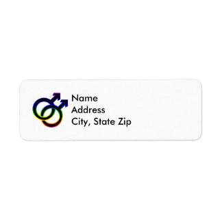 Rainbow Male Homosexual Symbol Return Address Label