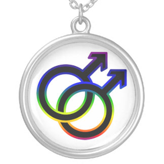 Rainbow Male Homosexual Symbol Silver Plated Necklace