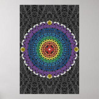 Rainbow Mandala 2 on a Gray Cactus Thorn Pattern Poster