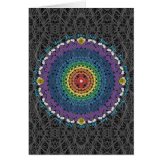 Rainbow Mandala 2 with Gray Cactus Thorn Pattern Card