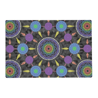 Rainbow Mandala Array Laminated Placemat