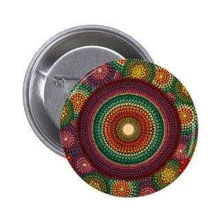 Rainbow Mandala Button Hand Painted