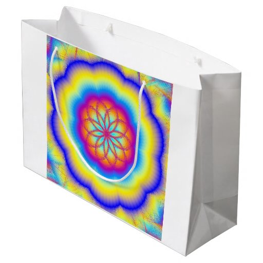 Rainbow Mandala Fire Flower Gift Bag Large Gift Bag