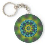 Rainbow Mandala Fractal Art Keychain