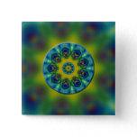 Rainbow Mandala Fractal Art Pinback Buttons