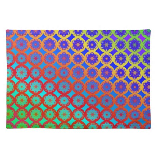 Rainbow Mandala Fractal Pattern Cloth Placemat