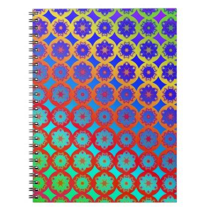 Rainbow Mandala Fractal Pattern Spiral Notebooks