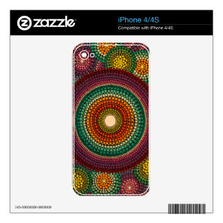 Rainbow Mandala - hand painted Decals For The iPhone 4