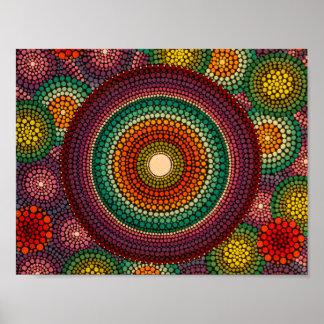 Rainbow Mandala Poster Hand Painted