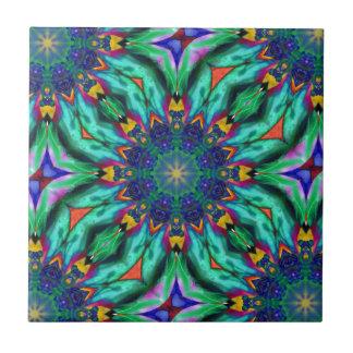 Rainbow Mandala Psychedelic Kaleidoscope Ceramic Tiles
