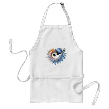 Beach Themed Rainbow Mandala Seashell Golden Spiral Yoga Tee Adult Apron